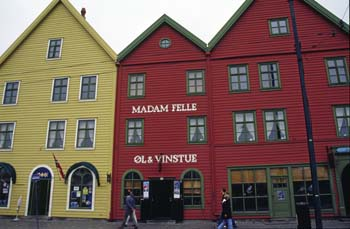 The Hanseatic Bryggen buildings, meticulously preserved and listed as a UNESCO World Heritage Site, Bergen, Norway