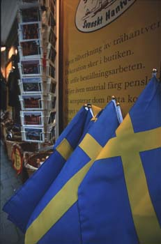 Souvenir shops are plentiful along the narrow streets of Gamla Stan, the old town of Stockholm, Sweden