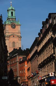 The narrow lanes of Gamla Stan (Old Town) still follow the same curves of the seamen of former times, Stockholm, Sweden
