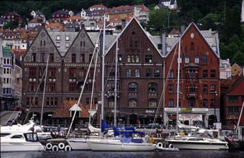 The picturesque, sheltered harbour at Bergen,<br /> the capital of fjord country, Norway