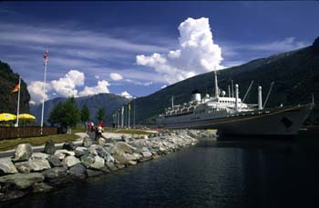 One of many passenger ships that ply the fjord regions at anchor at the Flam ferry terminal, Flam, Norway