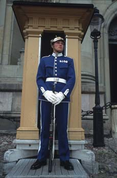 Royal guardsman on duty outside the Royal Palace, Gamla Stan, Stockholm, Sweden