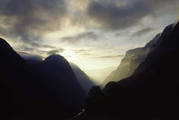 A dramatic sunrise over the Stalheim Skleive as viewed from a room at the historic Stalheim Hotel, Stalheim, Norway