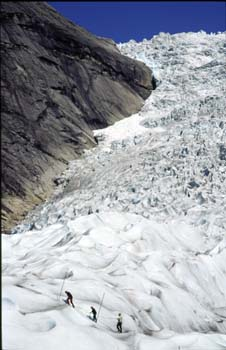 Guided tours of the Briksdals glacier, part of the great Jostedalsbreen, near Loen, Norway