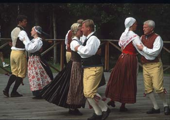 Traditional dancing at Skansen, an open-air folk museum in Stockholm, Sweden.