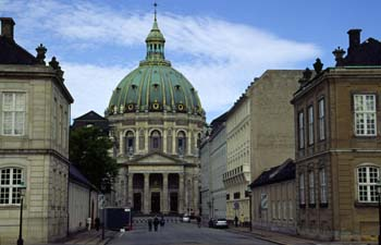The glistening copper dome of the Marble Church as viewed from Amalienborg Palace, Copenhagen, Denmark