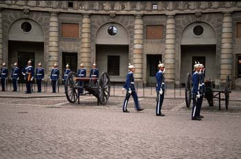 Ceremonial display at the Royal Palace in Gamla Stan (Old Town), Stockholm, Sweden