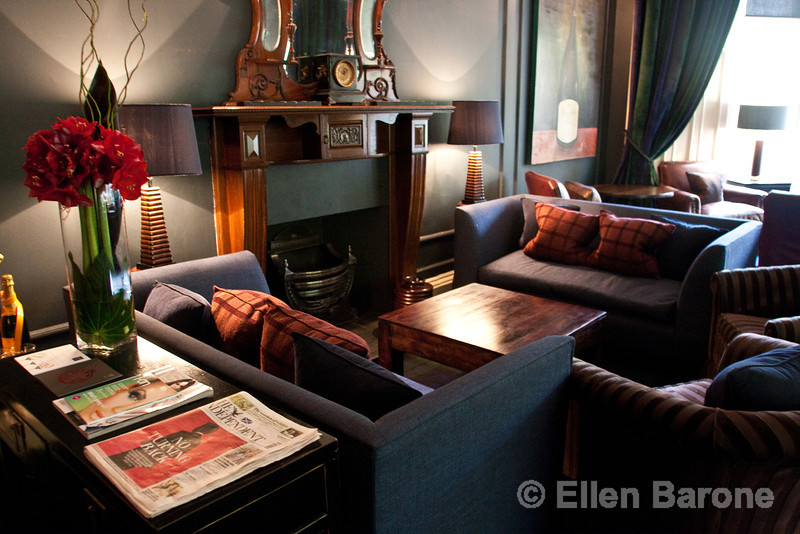 Cozy sitting room, Hotel du Vin, One Devonshire Gardens, Glasgow, Scotland, U.K.