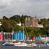 Colorful harbour scenic, Western Isles Hotel on hill, Tobermory, Isle of Mull, Scotland, U.K.