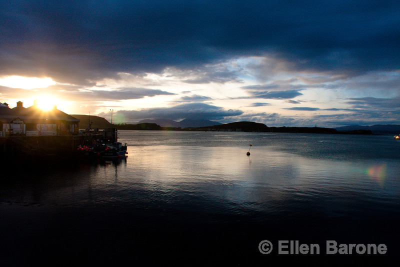 Oban harbour at sunset, west coast of Scotland, U.K.