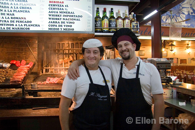 Friendly chefs at restaurante La Chacra del Puerto, Mercado del Puerto, Montevideo, Uruguay. ©2007 Ellen Barone.