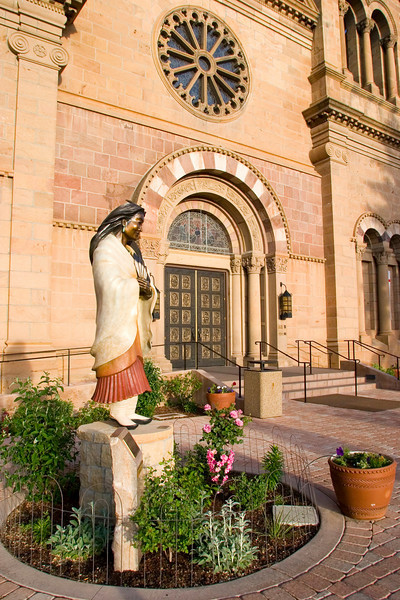 Sculpture, Blessed Kateri Tekakwitha by Estall Loretto, St. Francis Cathedral, Santa Fe, NM.