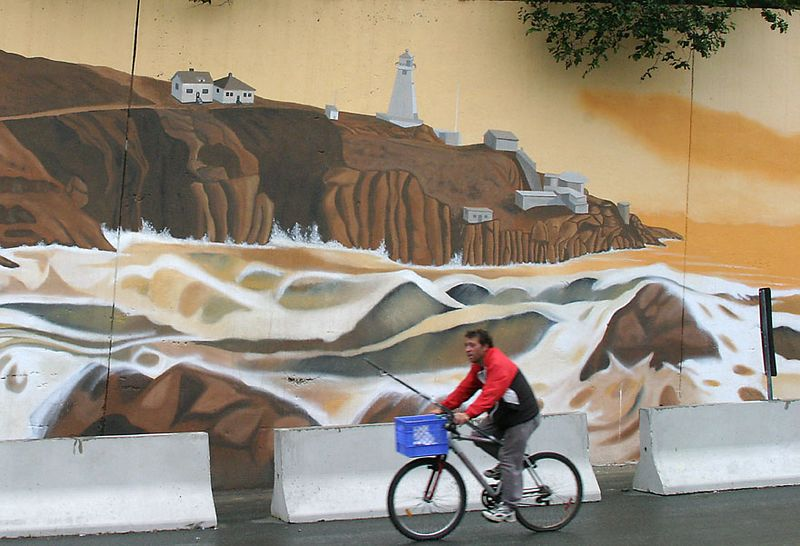 street scene, bicycle, public art mural by artists Derek Holmes and April Norman ©2005, St. John's, Newfoundland, Canada