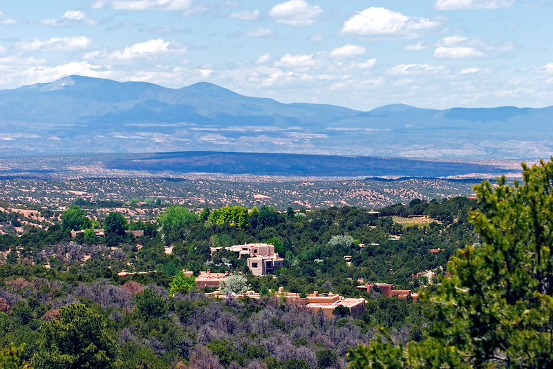 City overview and Sangre de Cristo mountains, as viewed from Dale Ball hiking and mountain bike trails, Santa Fe, New Mexico, USA