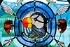 Seldovia crest, stained glass artwork on display at Seldovia Visitor Center, Kenai Peninsula.