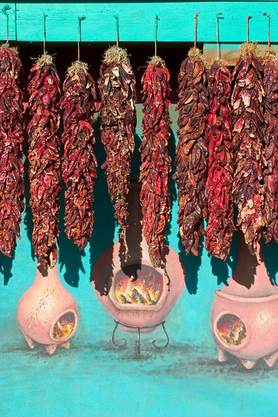 Chile ristras and mural, Taos shop, Taos, NM
