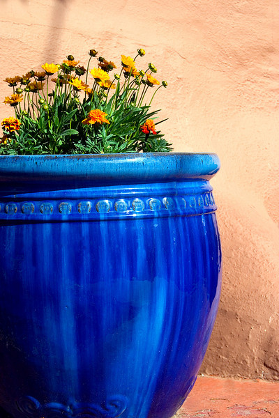 fFower pot with adobe wall, Canyon Road, Santa Fe, New Mexico