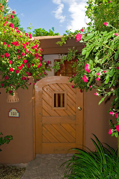 Gate, guest suite, Inn on the Alameda, Santa Fe, NM