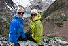 Bodacious Babes, Angie Smith and Denise Baynton, 80's dress-up night, Heli-hiking vacation, Canadian Mountain Holidays, Canada.