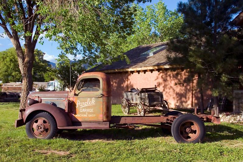 Antique truck, rural scenic, Taos, NM
