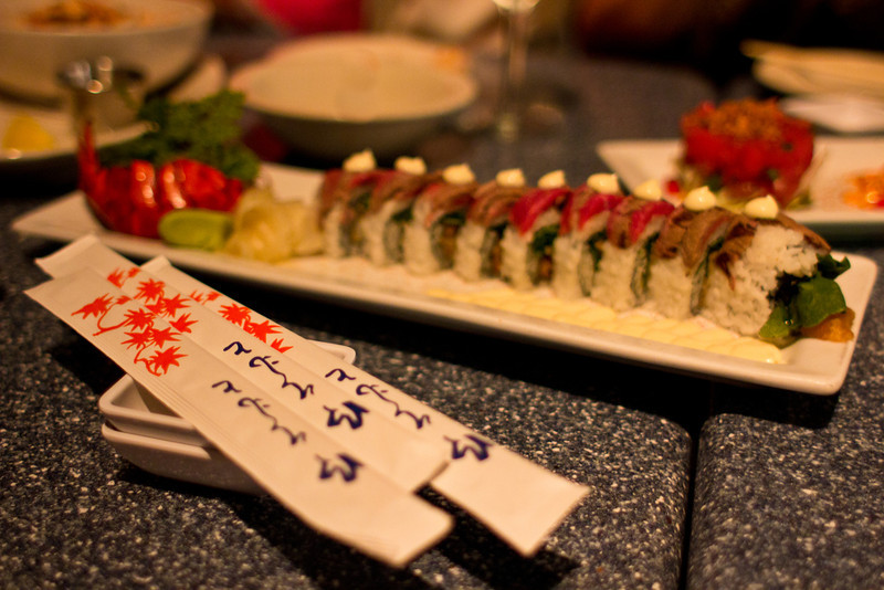 Surf and turf sushi roll, Skull Creek Boathouse restaurant, Hilton Head Island, South Carolina, USA, North America.