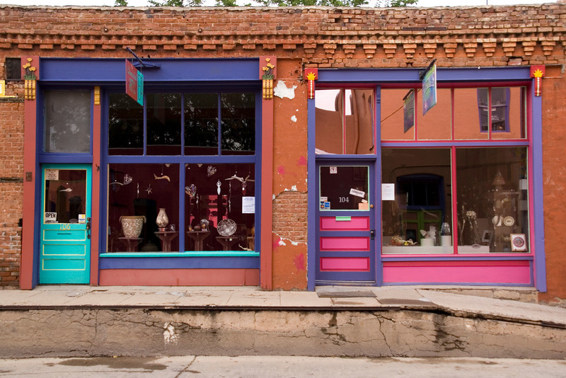 Colorful art galleries, Yankie Street Arts District, Silver City, New Mexico, USA