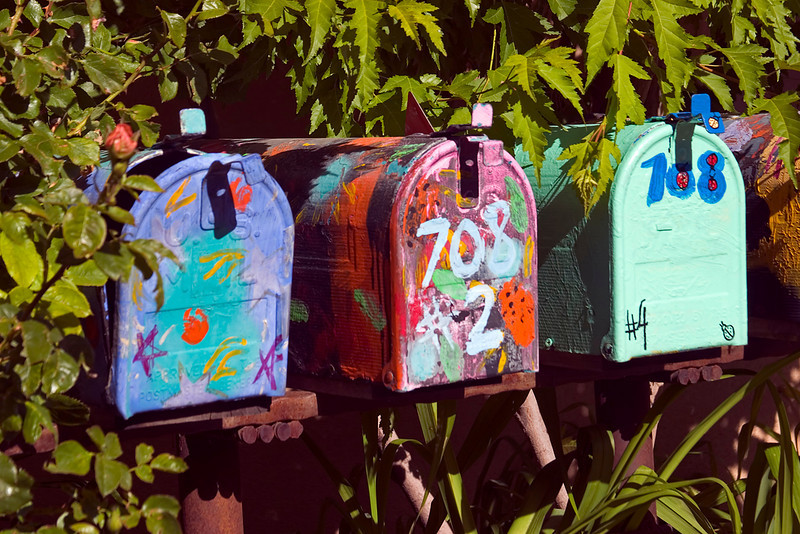 Colorful mailboxes, Gypsy Alley, Canyon Road, Santa Fe, NM