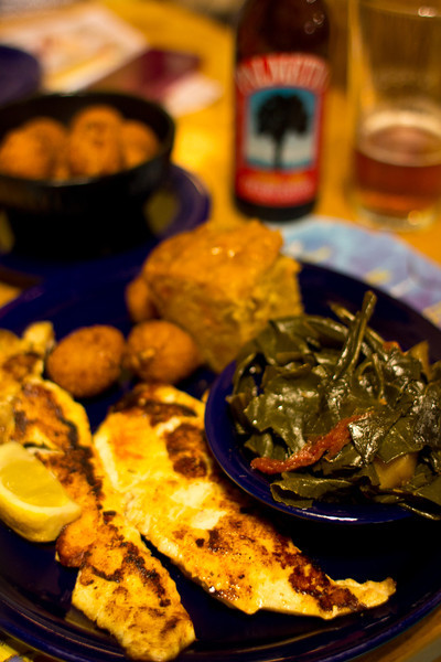 LowCountry southern cooking never tasted so good, wreck fish and collard greens at Roastfish and Cornbread restaurant, Hilton Head Island, South Carolina, USA, North America.