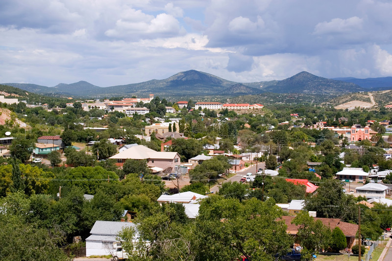 Town overview with Gila National Forest in the far distance, Silver City, New Mexico, USA.