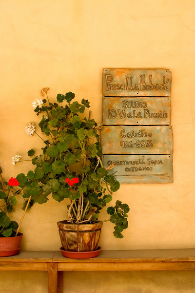 flower pot and gallery sign, Galisteo, NM (Santa Fe County)