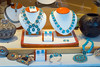 Window display, turquoise and silver jewelry, the plaza, Santa Fe, New Mexico, USA.
