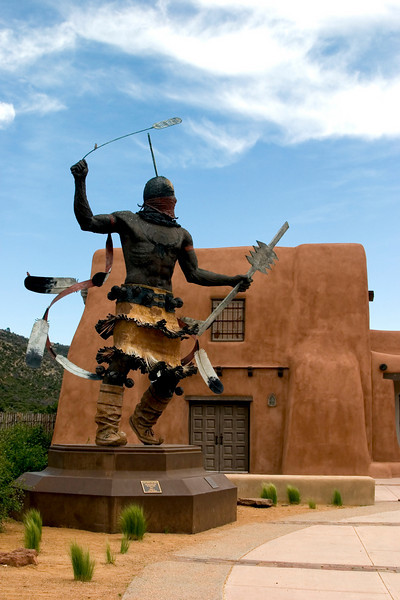 Bronze, Apache Mountain Spirit Dancer, Craig Dan Goseyum, 1995, San Carlos Apache, Laboratory of Anthropology, Museum HIll, Santa Fe, NM.