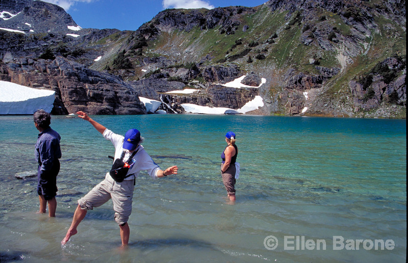 CMH hikers, glacial lake, Canadian Mountain Holidays, Helihiking, Bobbie Burns Lodge, Purcell Mountains, British Columbia, Canada