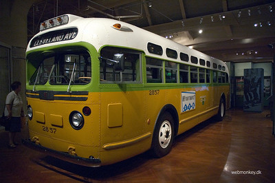 The Rosa Parks bus. Rosa Parks refused to give up her seat for a white man. She became an important symbol in the struggle for equal civil rights for African Americans.