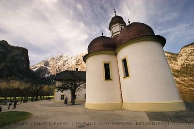 St.Bartholomä with the Watzmann in the background.  Königssee, Germany