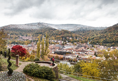 Fall colors with a winter blanket  Philosophenweg overlooking Heidelberg, Germany.