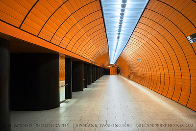 Orange Tube  Marienplatz U-bahn station.  Munich, Germany.