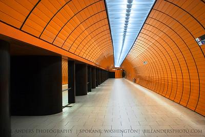 Orange Tube  Marienplatz U-bahn station.  Munich, Germany.