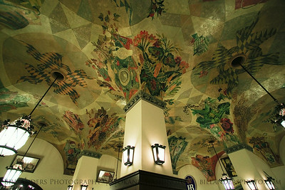 The ceiling of the world-famous Hofbrauhaus.  Munich, Germany.