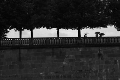 Fools in the Rain  Sightseeing in the Eastern Garden, Heidelberg Castle (Heidelbergschloss), Heidelberg, Germany.