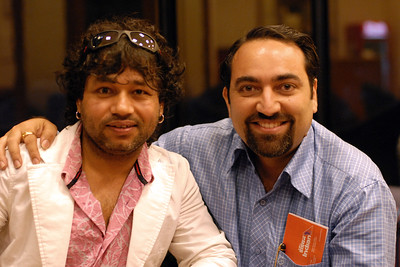 Kailash Kher and Suchit Nanda at the business lounge in Kolkata (Calcutta) Airport, West Bengal (WB), India. This image was shot by the friend/collegue of Kailash who was traveling with him. Thanks!