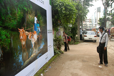 "Poster at entrance to Drik Gallery where a photography exhibition of Suchit Nanda's images ""Below the Poverty Line"" was held from 25th to 30th September, 2007 at the Drik Gallery, Dhaka. The exhibition was part of a series of activities carried out under UNESCO's Artist in Development Programme funded by the Norwegian Ministry of Foreign Affairs (Norwegian Embassy). Suchit is a majority world photographer and regularly contributes to http://www.majorityworld.com/"