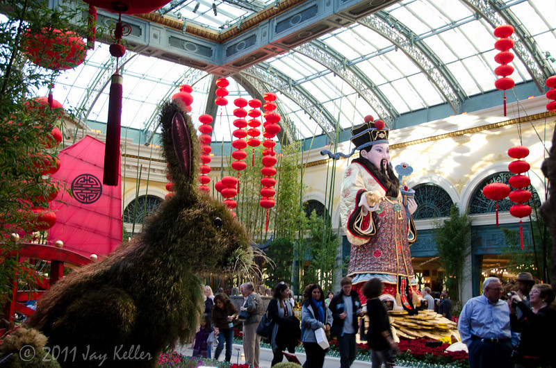 The Bellagio atrium, decked-out for Chines New Year. It will be The Year of the Rabbit. They go all out.
