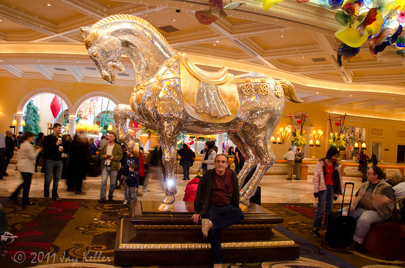 In the Bellagio lobby with the mirrored horse. You can see a corner of the famous Chihuli chandelier on the right.