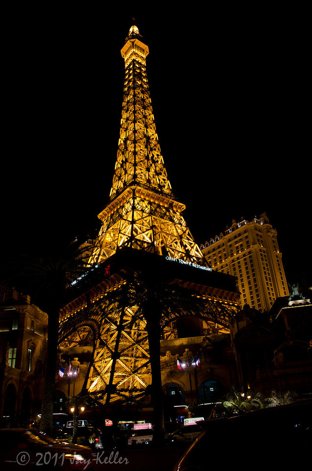 Obligatory night shot of the Eiffel Tower in front of the Paris Hotel.