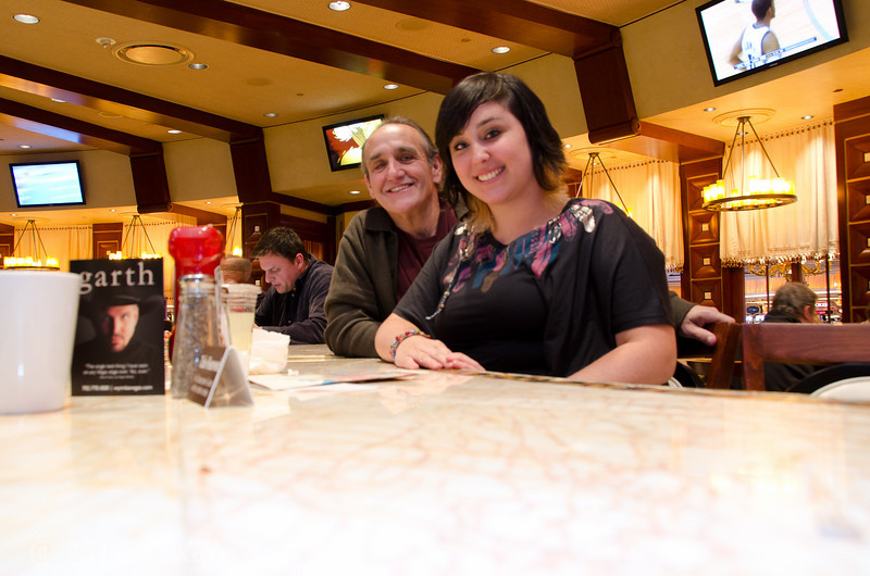 At a deli in the Wynn, waiting for a bite before we went to the show (Le Rêve).