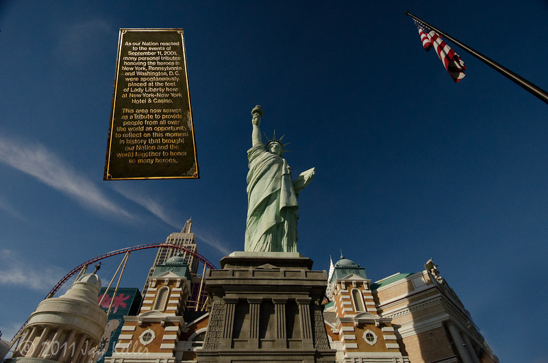 """As our Nation reacted to the events of September 11, 2001, many personal tributes honoring the heros in New York, Pennsylvania and Washington, D.C. were spontaneously placed at the foot of Lady Liberty here at New York-New York Hotel & Casino.  <br /> The area now serves as a Tribute to provide people from all over the world an opportunity to reflect on this moment in history that brought our Nation and the world together to honor so many heroes."""