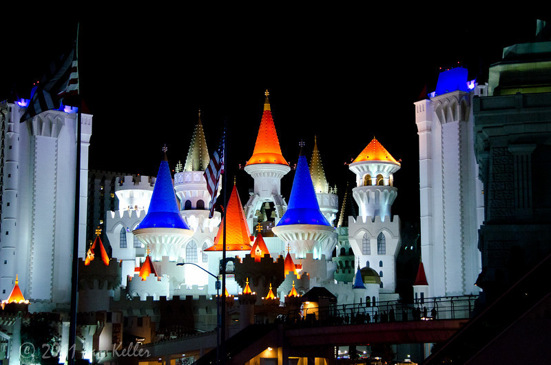Excalibur.  We stayed there once when the kids were small, and saw the jousting show downstairs.   Great place for kids, the pool has water slides and they have a great arcade.   Also it's one of the least-expensive place on the LV strip.