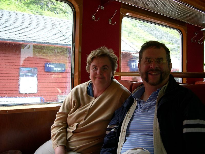 Dick and Susan on the train to Myrdal