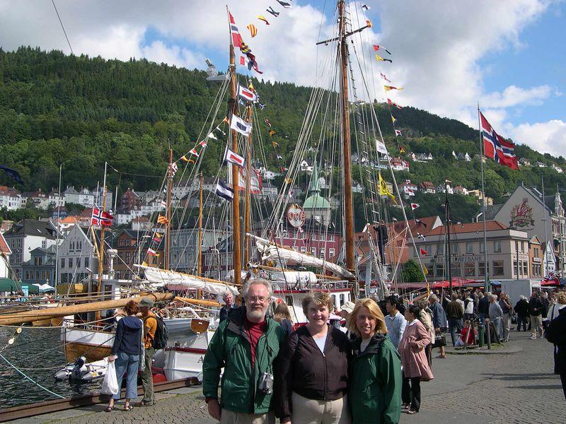 Danny, Susan and Doreen by Bergen harbor